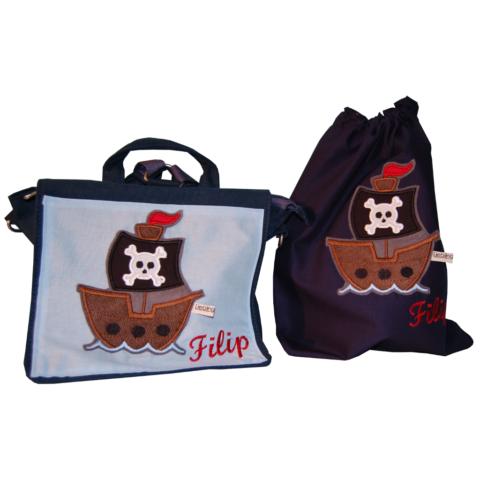 SET Kindergartentasche und Turnbeutel Piratenschiff mit Namen Lieblingsstücke
