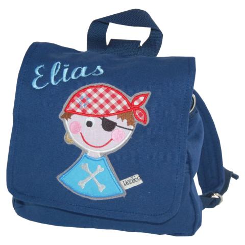 Kindergartentasche Pirat mit Namen in blau von Lieblingsstücke