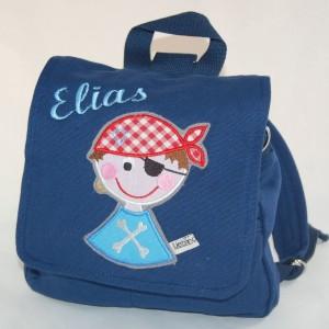 Kita-Tasche S blau Pirat + Namen1
