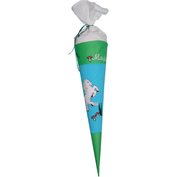 Zuckertüte Pferd mit Namen türkis grün von Lieblingsstücke