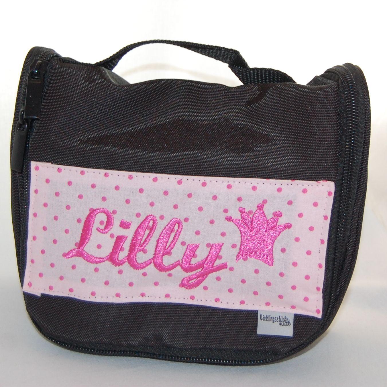 kleine kulturtasche mit namen schwarz rosa lieblingsst cke. Black Bedroom Furniture Sets. Home Design Ideas