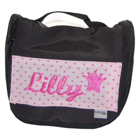 Kulturtasche mit Namen in schwarz und rosa von Lieblingsstücke