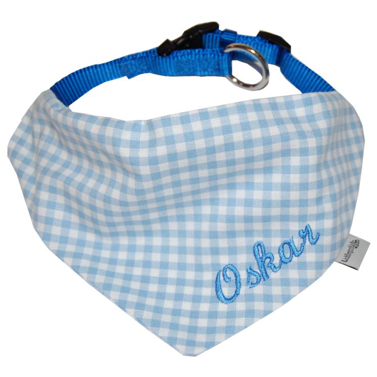 Hundehalsband mit Namen hellblau-kariert Lieblingsstücke