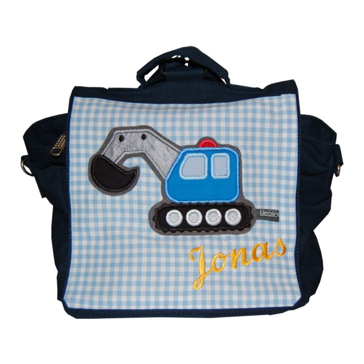 Kindergartentasche Bagger mit Namen. Lieblingsstücke