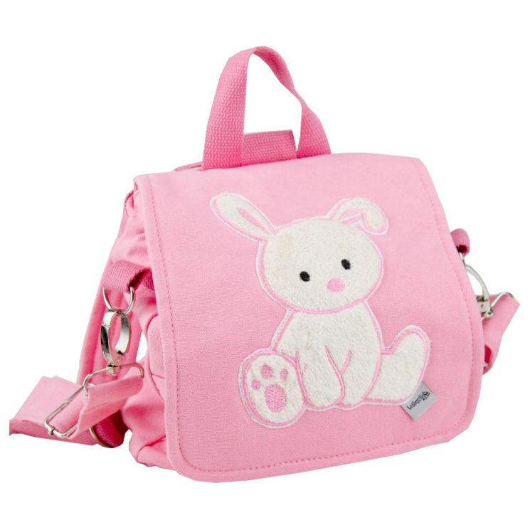 Kindergartentasche Hase mit Namen in rosa