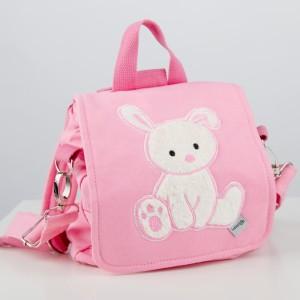 personalisierbare Kindergartentasche mit Häschen in rosa - wandelbare Tasche / Rucksack
