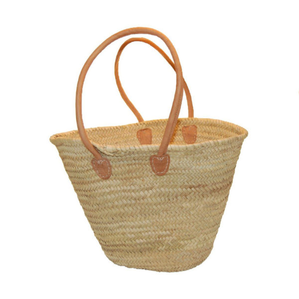 Strandtasche Korbtasche mit langem Leder-Henkel