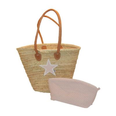 Korbtasche Stern mit passender Kulturtasche von Lieblingsstücke