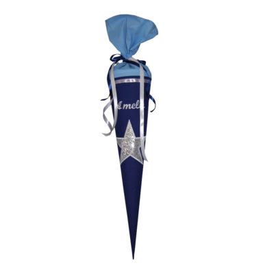 Schultüte Stern mit Namen in dunkelblau und silber von Lieblingsstücke