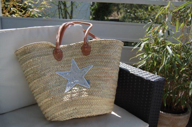 Korbtasche Ibizatasche mit Stern silber Pailetten Lieblingsstücke