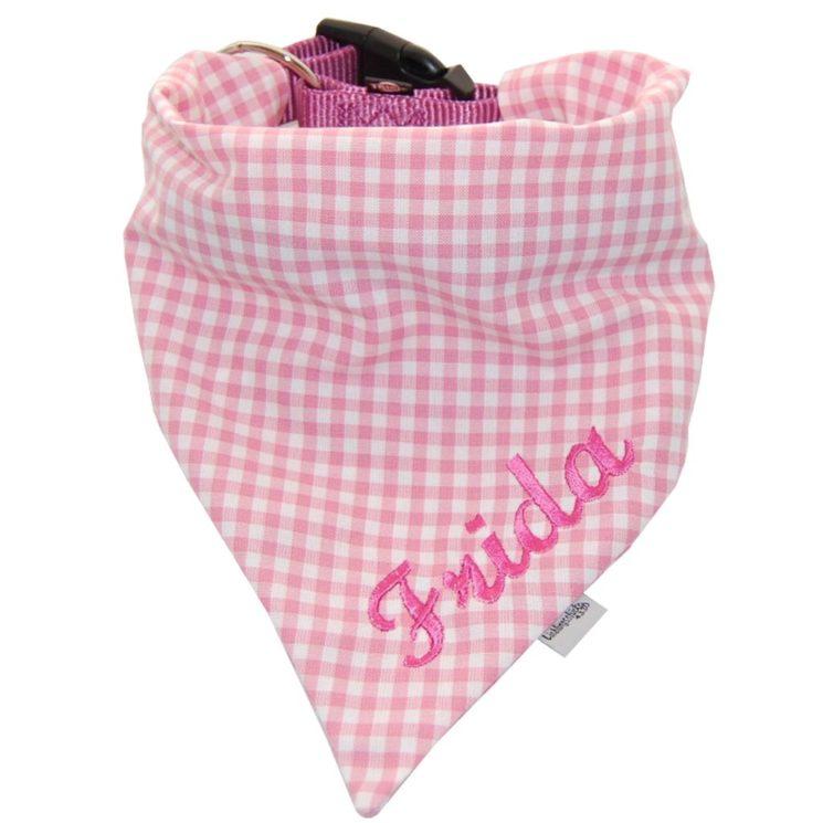 Hundehalstuch mit Namen in rosa-kariert von Lieblingsstücke