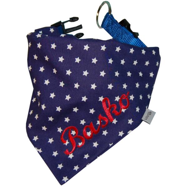 Hundehalstuch mit Namen dunkelblau mit Sterne von Lieblingsstücke 4330