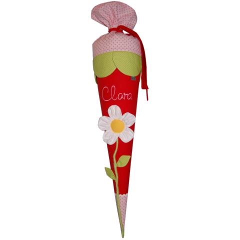 Schultüte BLUME mit Namen in rot und rosa von Lieblingsstücke.
