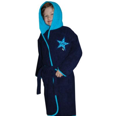 Kinder Bademantel mit Namen und Stern in blau von Lieblingsstücke