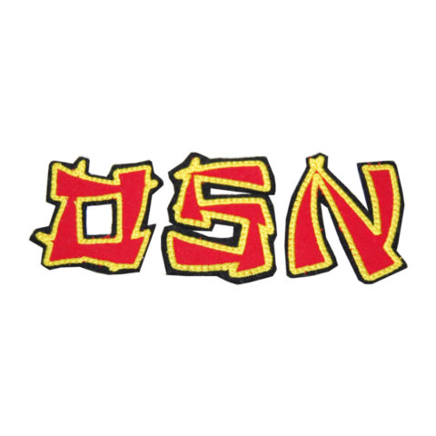 Stoffbuchstaben Ninja in rot und gold