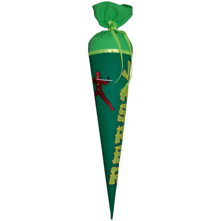 Ninja Schultüte mit Name aus Stoff. Wandelbare Schultüte in ein KIssen von Lieblingsstücke 4330