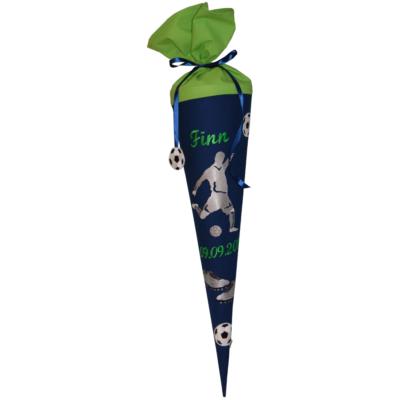 Fußball Schultüte mit Namen in blau und grün von Lieblingsstücke 4330