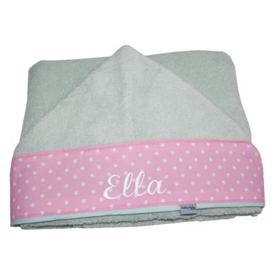 Babyhandtuch mit Namen in mint und rosa von Lieblingsstücke