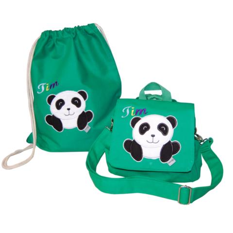 Tasche und Turnbeutel mit Namen und Panda von Lieblingsstücke 4330