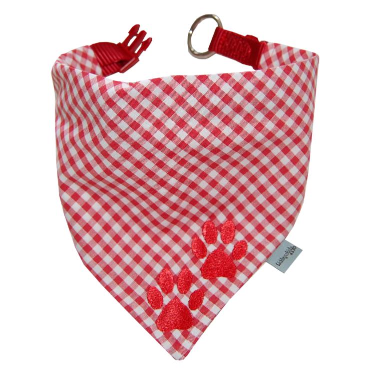 Halstuch für Hunde mit gestickten Pfoten in rot-kariert