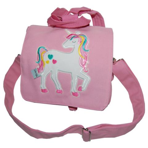 Kindergartentasche mit Regenbogeneinhorn in rosa von Lieblingsstücke 4330
