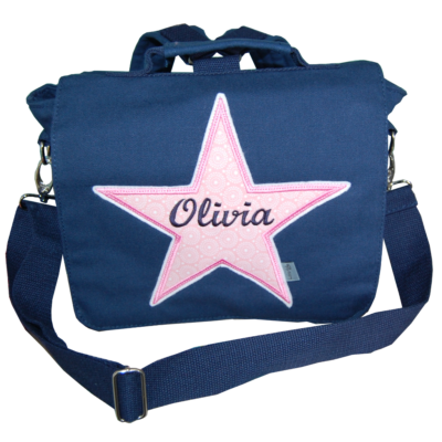 Kita-Tasche mit Stern und Namen in dunkelblau und rosa von Lieblingsstücke 4330