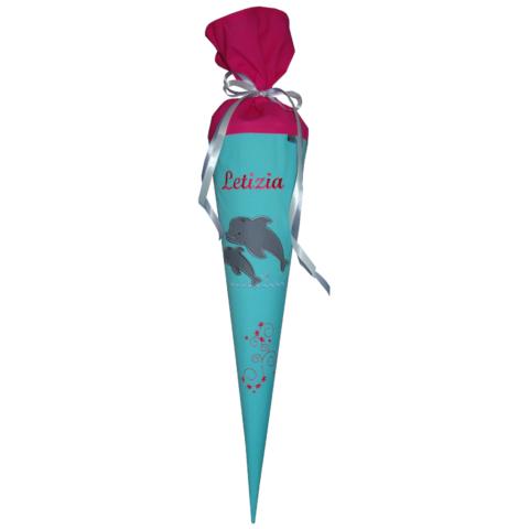Schultüte Delfine mit Namen aus Stoff, wandelbar in ein Kissen von Lieblingsstücke 4330