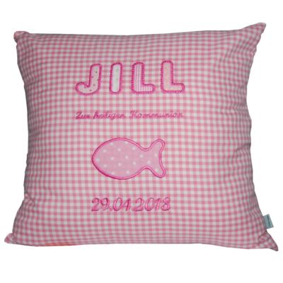Kissen zur Kommunion mit Namen und Fisch in rosa-kariert von LIeblingsstücke 4330