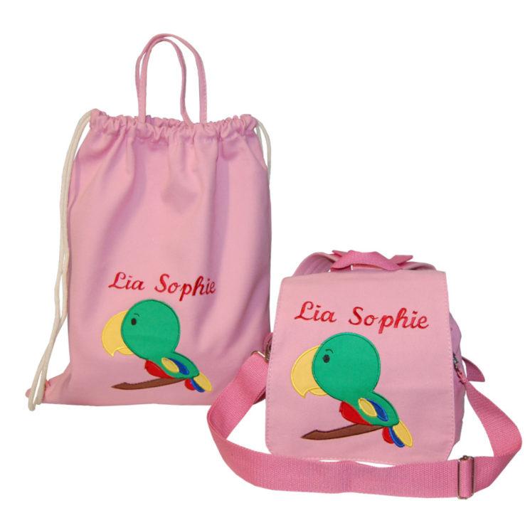 Kindergartentasche und Turnbeutel mit Namen