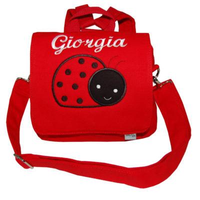 Kindertasche mit Namen und Marienkäfer in rot von Lieblingstücke